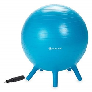 Gaiam Kids Stay-N-Play 어린이 균형 볼- 배송기간 14일~21일 (Gaiam Kids Stay-N-Play Children's Balance Ball - Flexible School Chair, Active Classroom Desk Seating with Stay-Put Stability Legs, Includes Air Pump)